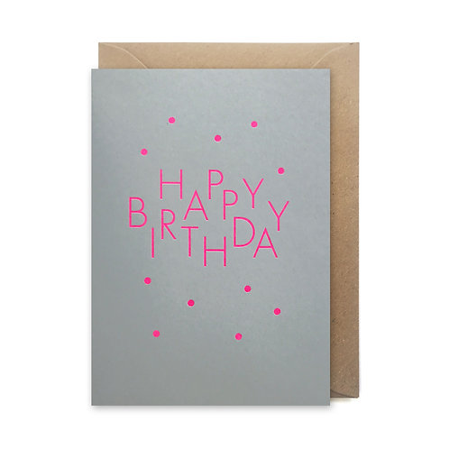 Happy Birthday spots neon: Birthday card