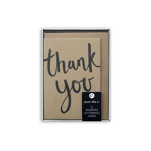 6 assorted small thank you cards: Box set