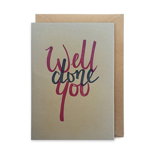 Well done you: Congratulations card