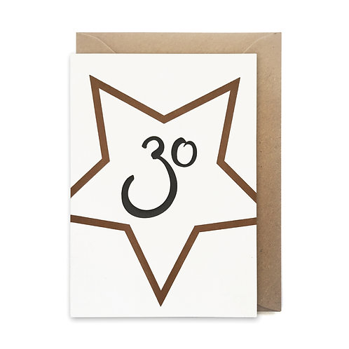 30 star card: Birthday card
