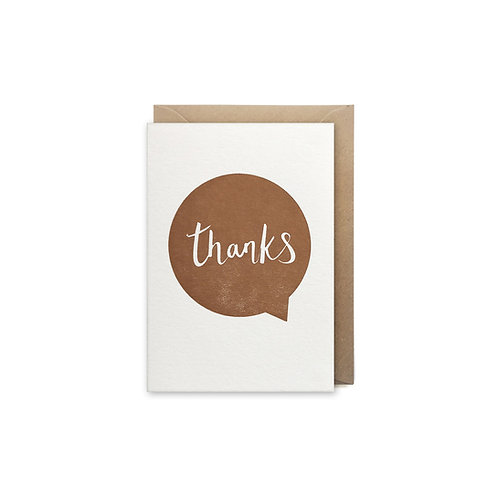 Thanks speech bubble: Small thank you card