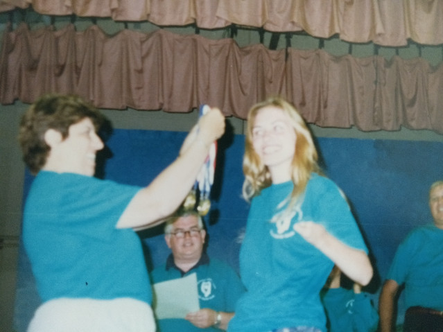 Me winning gold at the medal ceremony.