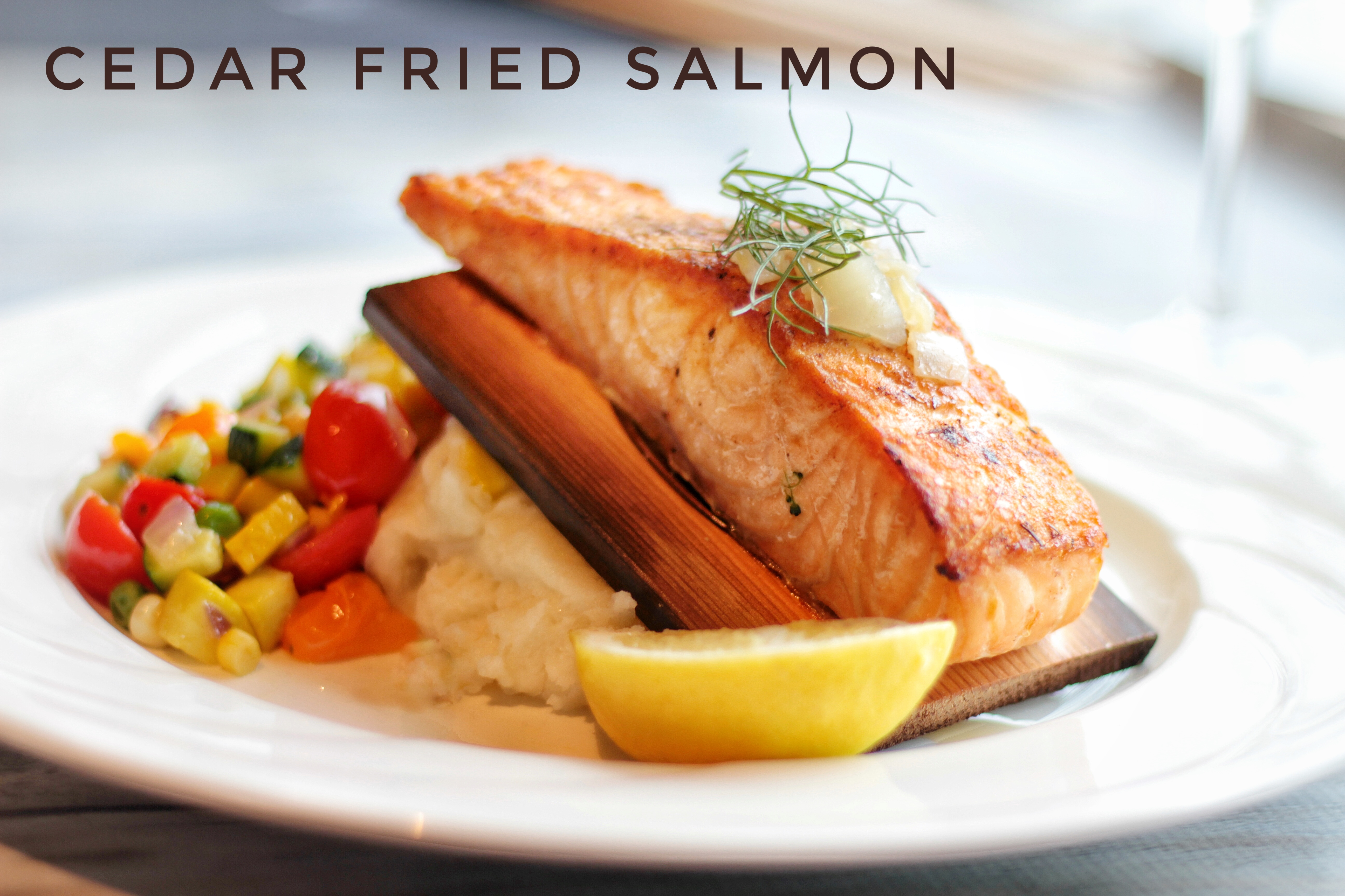 Salmon with text