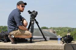 Mike filmming in Kalamazoo
