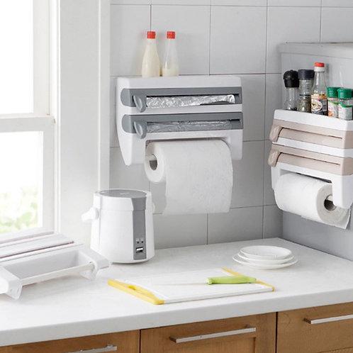 מדף משולב למטבח עם אחסון מובנה לנייר כסף ניילון נצמד ונייר סופג