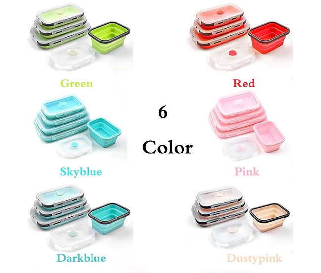 סט קופסאות סיליקון מתקפלות מלבניות לאחסון מזון, מעוצבת במבחר צבעים