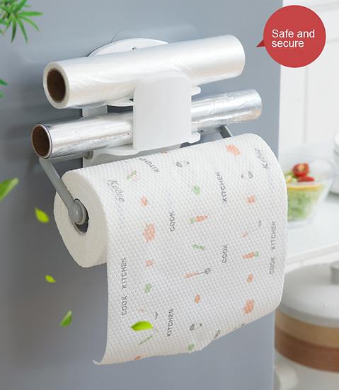 מדף משולב למטבח ללא קדיחת חורים עם אחסון מובנה לנייר כסף ניילון נצמד ונייר סופג