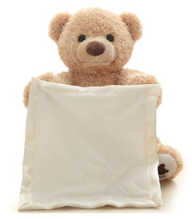 דובי משחק מחבואים דובון פרווה ושמיכת סאטן נעימים למגע עבור התינוק