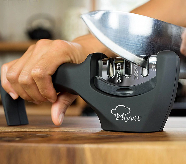 משחיז סכינים מקצועי ובטיחותי 3 שלבים קרמיקה, טונגסטן, יהלום