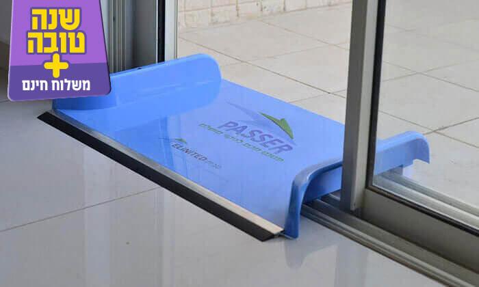 מכשיר להעברת מים מעל מסילות בעל פס אלומיניום ליציבות וגומי המונע חדירת מים