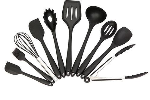 סט 10 כלי מטבח עשויים סיליקון איכותי במיוחד עם אפקט הנונסטיק