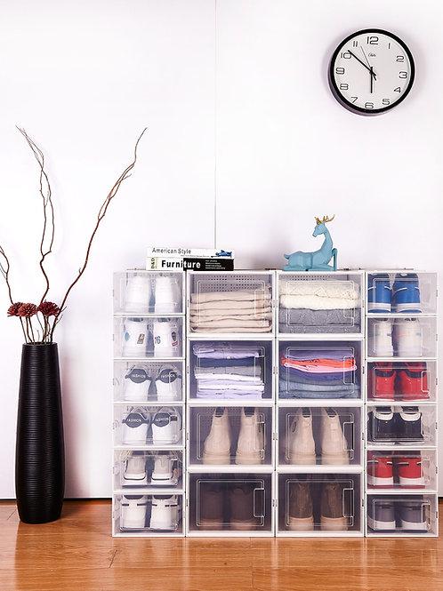 מארז 6 קופסאות אחסון שקופות מעוצבות לנעליים או בגדים