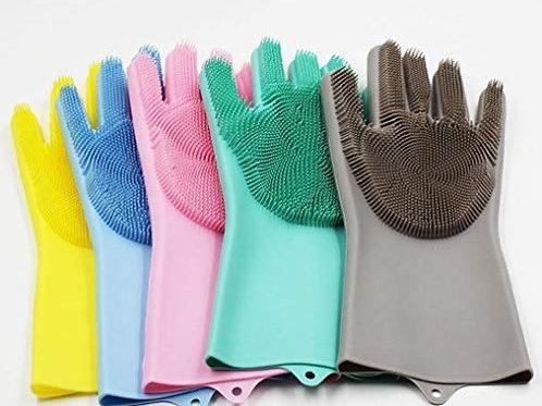 זוג כפפות סיליקון לשטיפת כלים ושאר סוגי הניקיונות (בית,רכב,חצר) במגוון צבעים