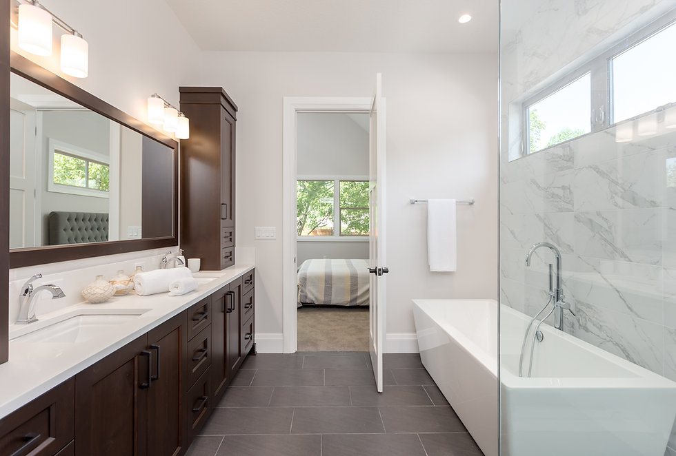 Master bathroom in new luxury home. Tile