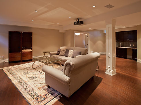 Modern home entertainment room in the ba