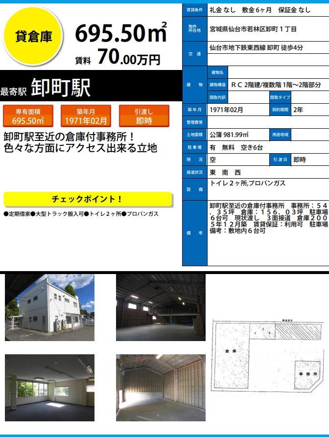 仙台 仙台市 貸倉庫 倉庫兼事務所 若林区 卸町