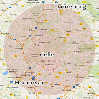 Landkarte vom Tätigkeitsbereich von Andre Schacher Immobilien