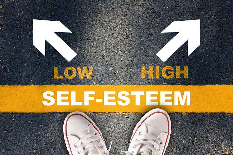 Self-esteem written on yellow line with