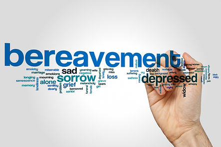 Bereavement word cloud concept on grey b