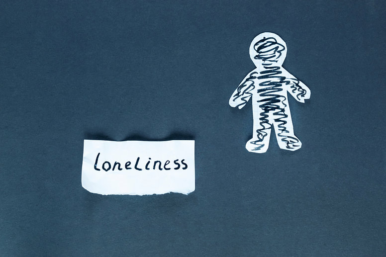 Word loneliness and paper man on the dar
