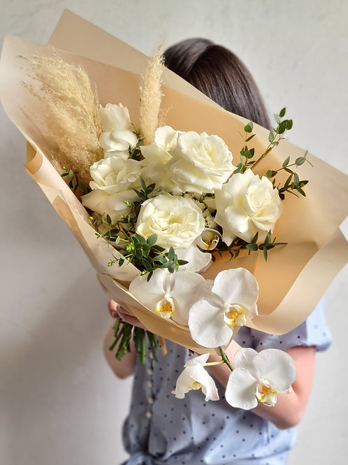 White Boho bouquet with Orchid
