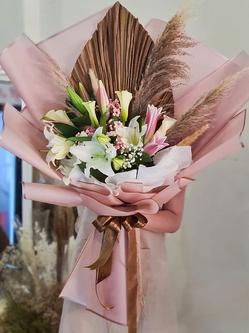 (PO in D-3) XL size Rustic Lily bouquet