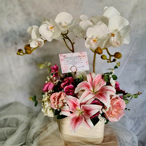 White Orchid with Soft Pink Arrangement