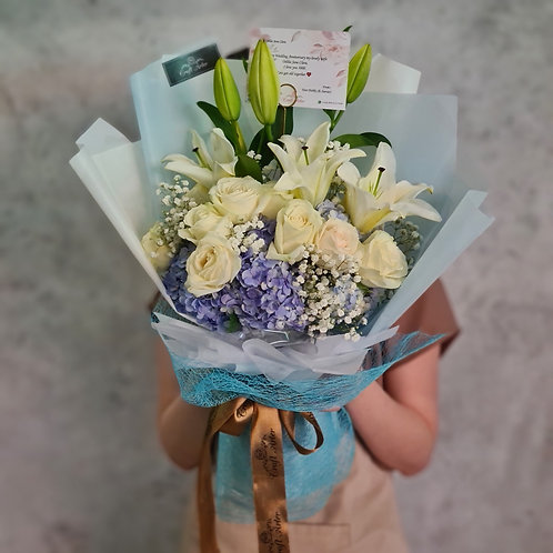 White & Blue Lily Bouquet