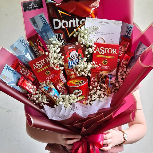Red Snack Bouquet with Money