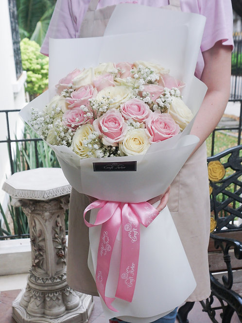 20 pink and white classic bouquet