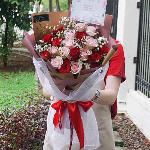25 red n pink classic bouquet