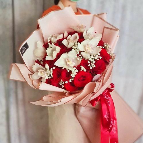 40 red roses& White Cymbidium