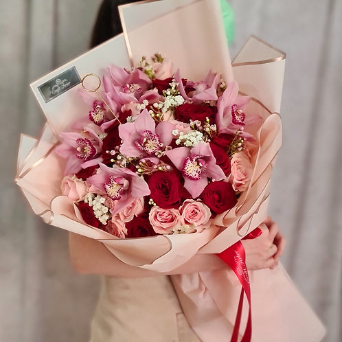 40 Pink & Red roses w/ Pink Cymbidium