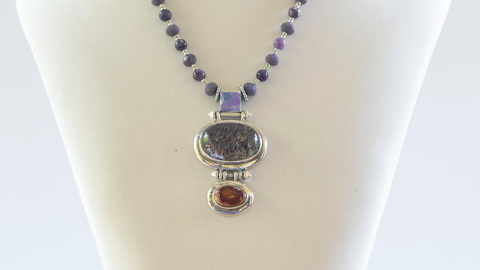 Silver and Quartz Oval Pendant