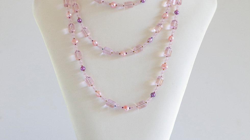 Pink Pearls & Quartz Necklace (long)