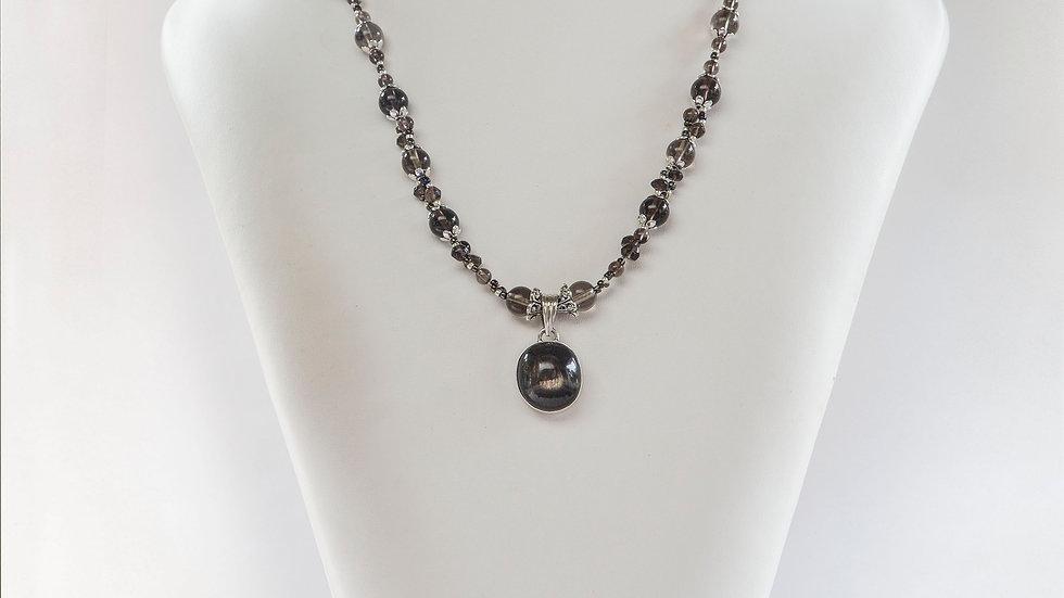 Obsidian & Smokey Quartz Necklace