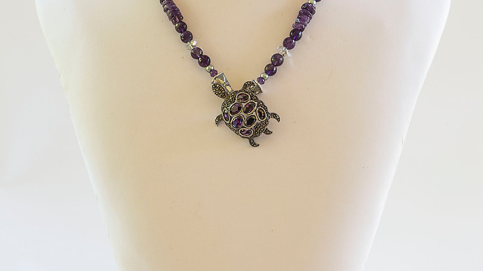 Amethyst and Marcasite Turtle Pendant