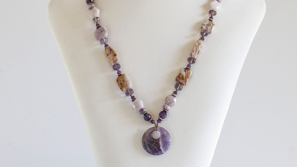 Amethyst & Charoite Necklace