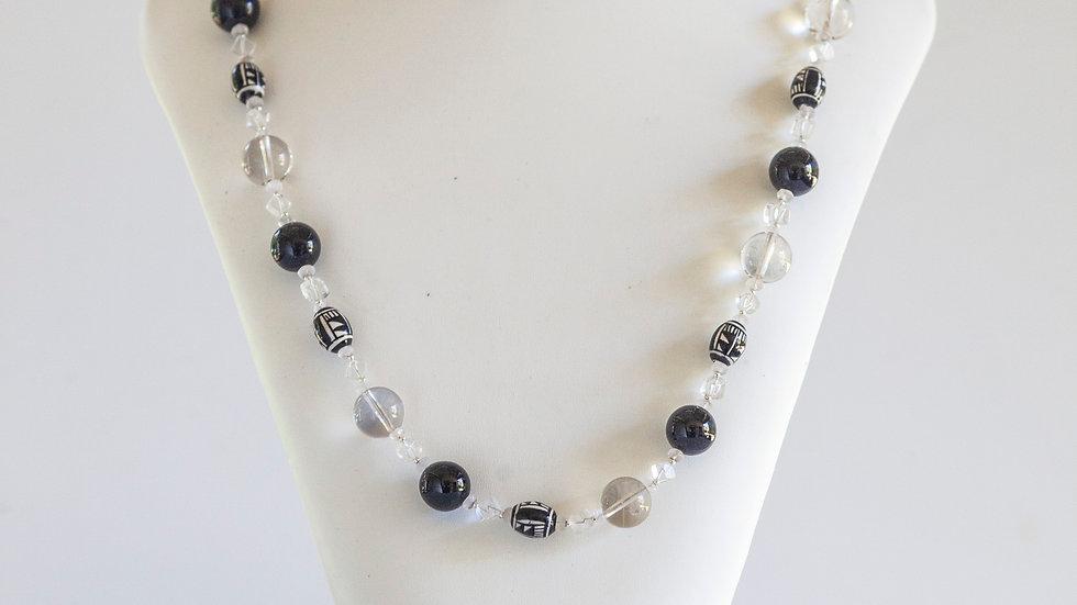 Clear Quartz & Onyx Necklace