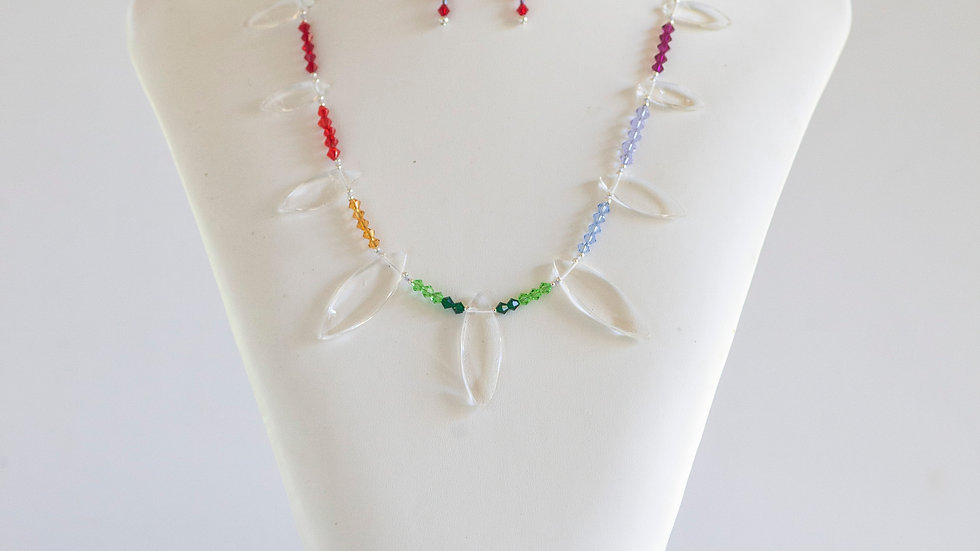 Chakra & Quartz Crystal Necklace (posts)