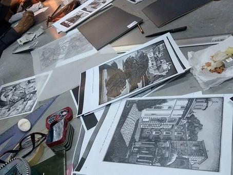 Στιγμιότυπα από το τμήμα Χαρακτικής με τον Μιλτιάδη Πεταλά