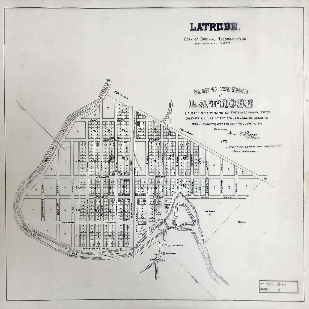 On February 18, 1851, Thomas Kirk sold his 140 acre farm in Derry Township to Oliver Barnes. Three years later he created this plan for the town of Latrobe.