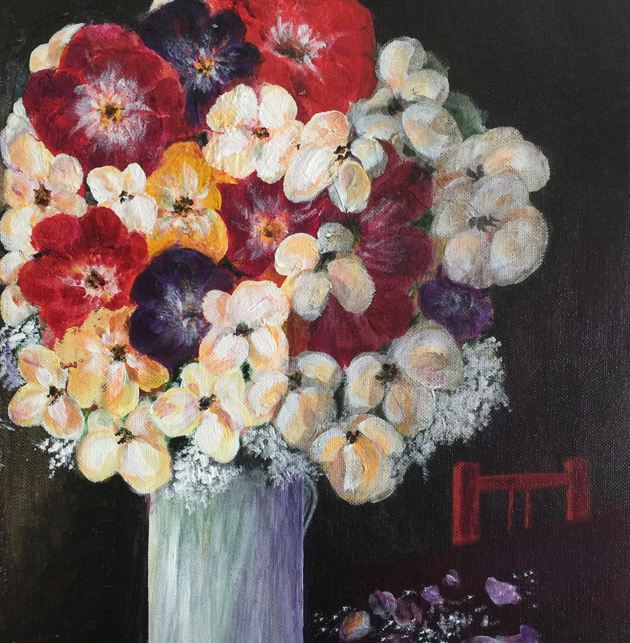 Flower in Vase With Red Chair