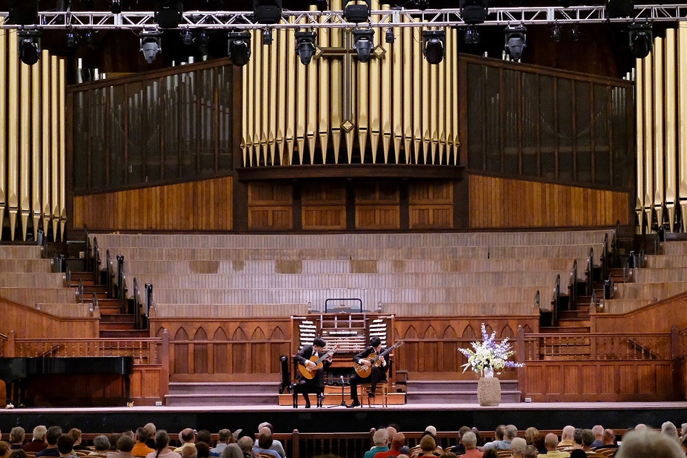 Us performing at the Great Auditorium