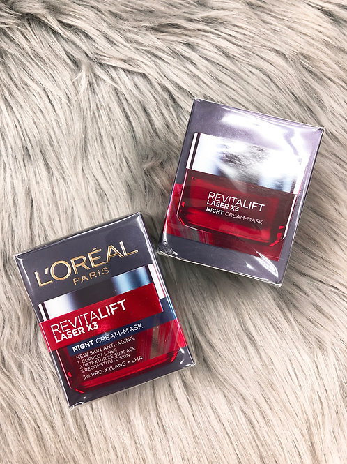 L'OREAL REVITALIFT LASER X3 NEW SKIN ANTI-AGING NIGHT CREAM-MASK活力緊緻光學嫩膚活肌修護彈力晚霜