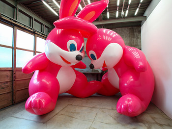Giant inflatable bunnies invade Elmhurst!