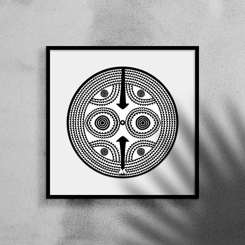 Sun Mask #3 - Framed