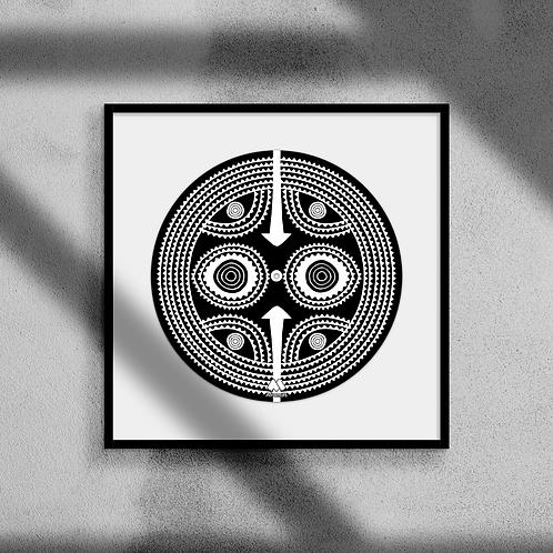 Sun Mask #2 - Framed