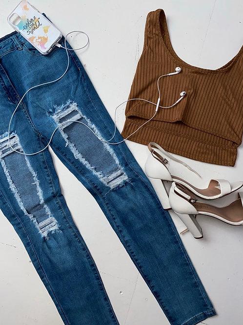 Light Blue Extreme Distressed High Waist Skinny Jeans