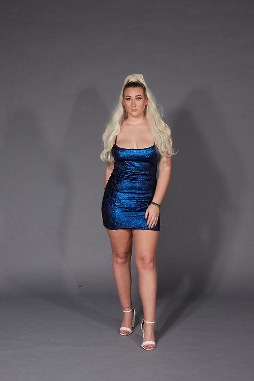 Tie Knot Back Glitter Cami Dress - Royal Blue